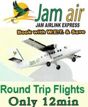 Fly Jam Air MBJ to Negril roundtrip